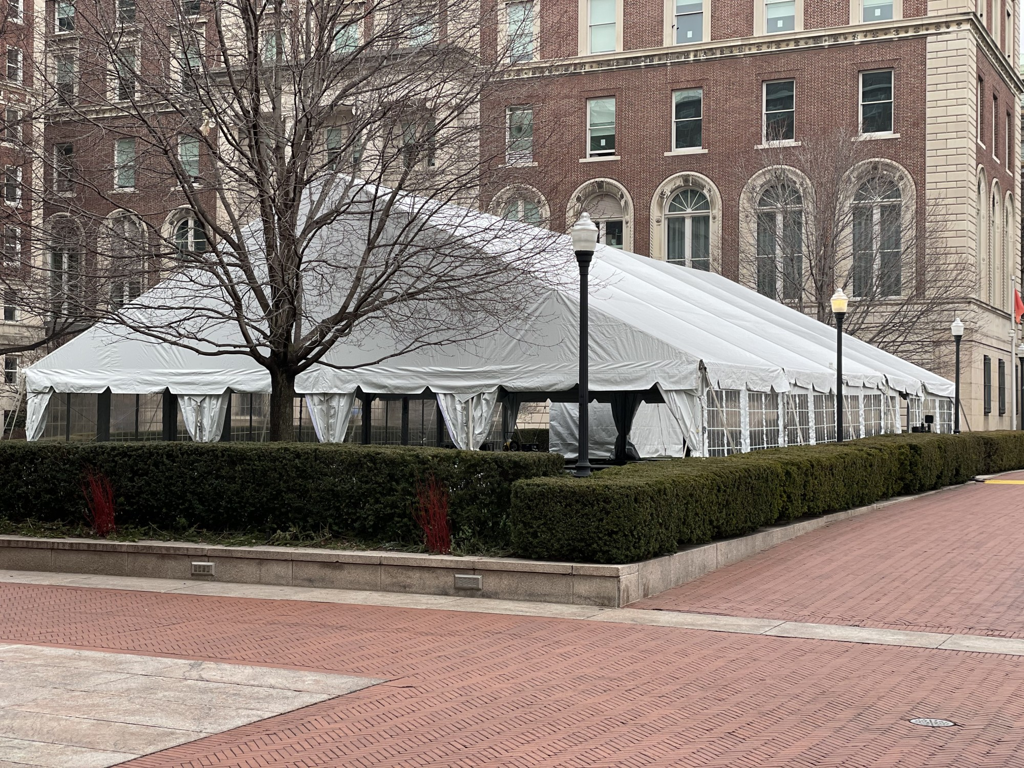A tent is erected on a large grassy lawn partially lined with tall hedges. Behind the lawn is a red brick building.