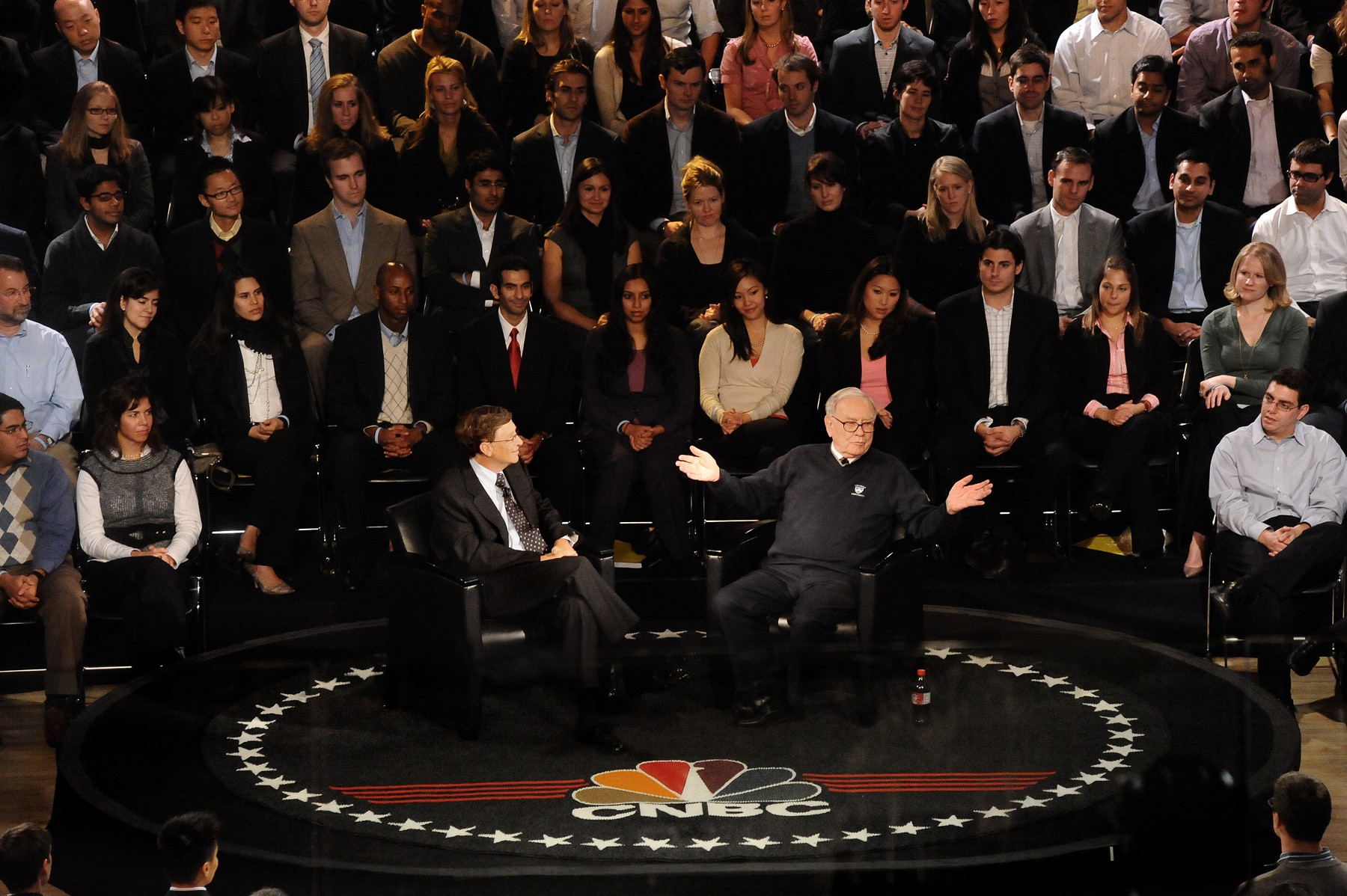 Bill Gates & Warren Buffett presenting as part of a panel at the World Leaders Forum