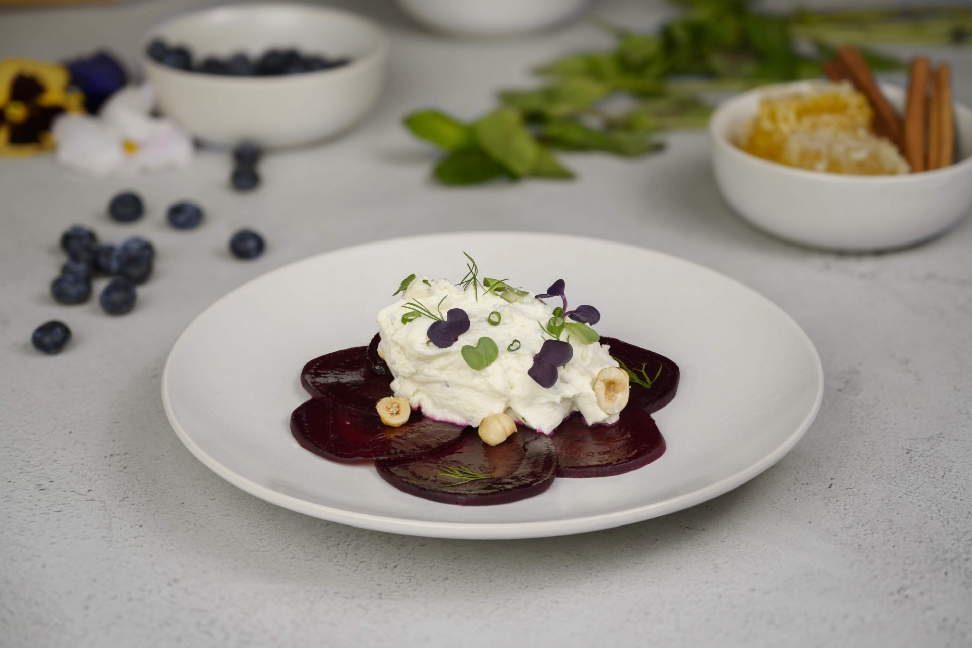 Roasted Beet Salad with whipped goat cheese and toasted hazelnuts