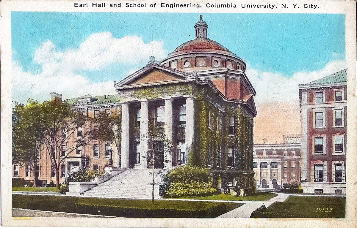 Post card showing a drawing of Earl Hall