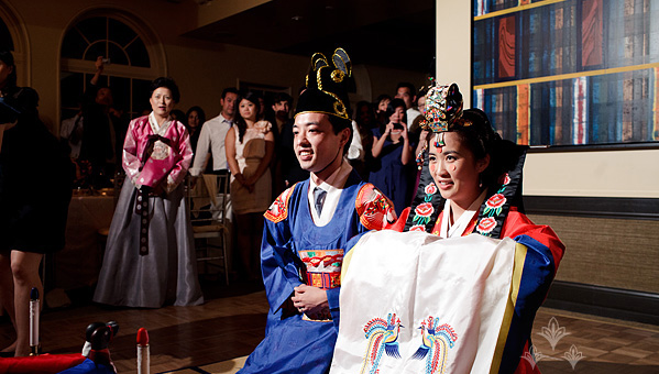 Couple participating in a tea ceremony