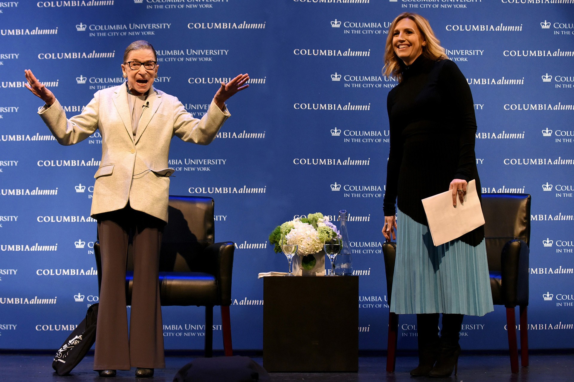 Supreme Court Justice Ruth Bader Ginsberg speaks to Columbia Alumni.