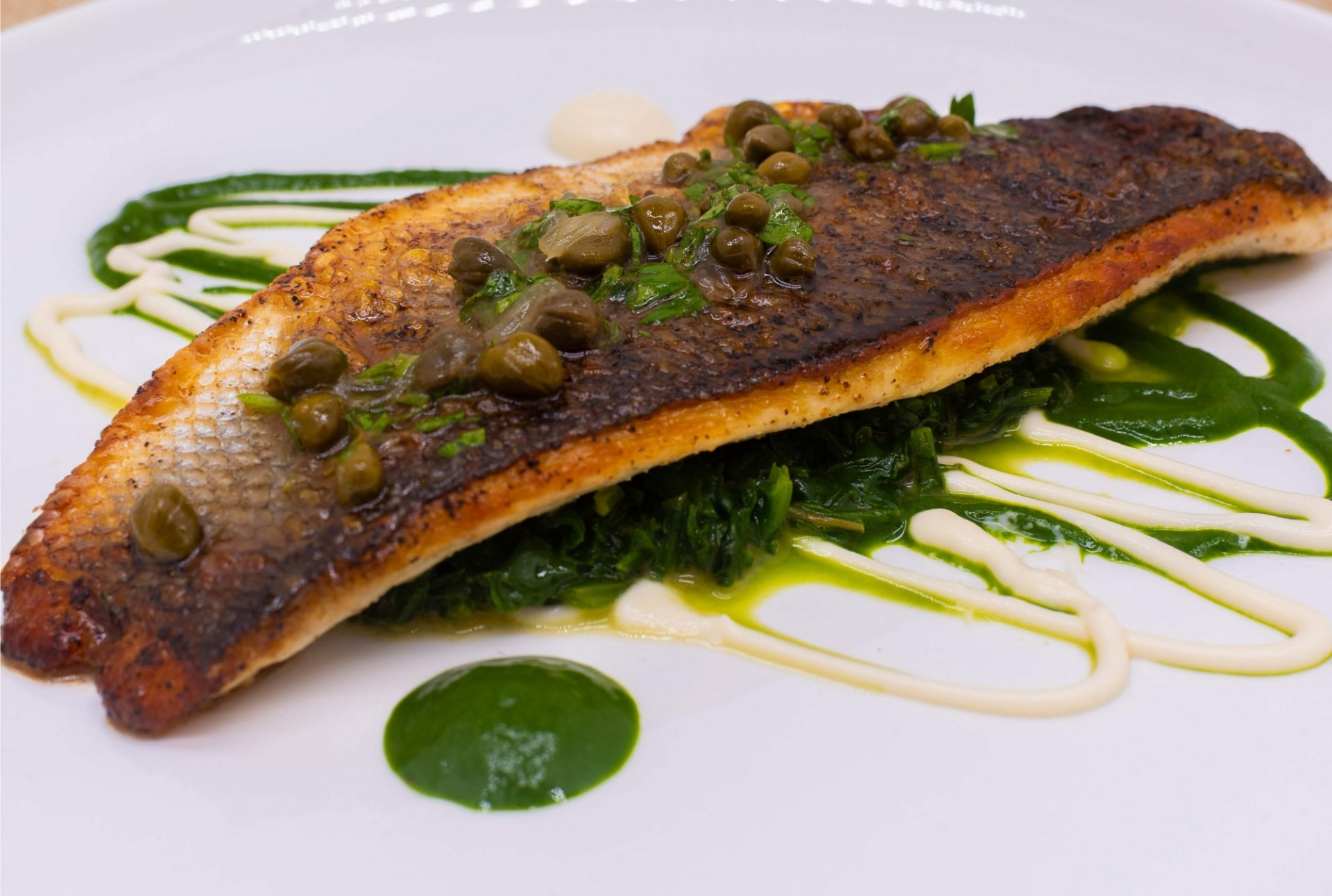 Pan seared trout on a bed of spinach